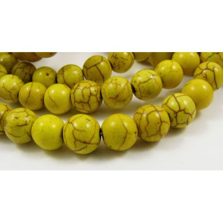 Sint. turquoise beads, yellow, round shape, size 8 mm
