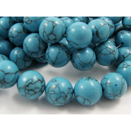 Synthetic turquoise beads, blue, round shape, size 16 mm
