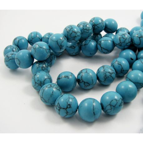 Synthetic turquoise thread, blue, round shape, size 16 mm