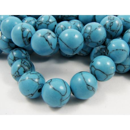 Synthetic turquoise beads, blue, round shape, size 12 mm