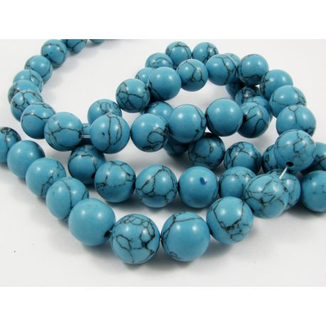 Synthetic turquoise thread, blue, round shape, size 12 mm