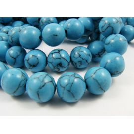 Synthetic turquoise beads 10 mm, 1 pcs.