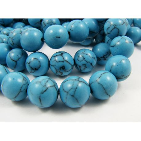 Synthetic turquoise beads, blue, round shape, size 10 mm