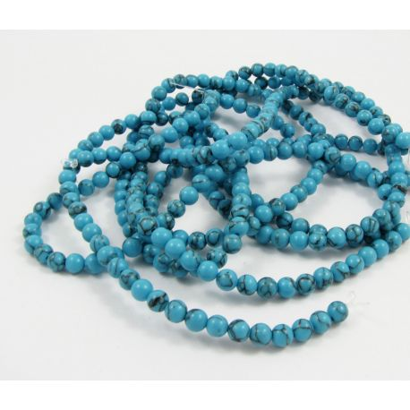 Synthetic turquoise thread, blue, round shape, size 5 mm