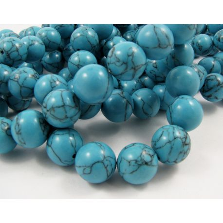 Synthetic turquoise beads, blue, round shape, size 14 mm