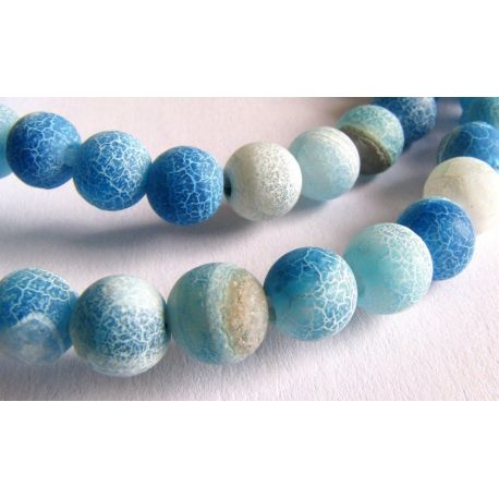 Agate beads blue - white round shape 6mm