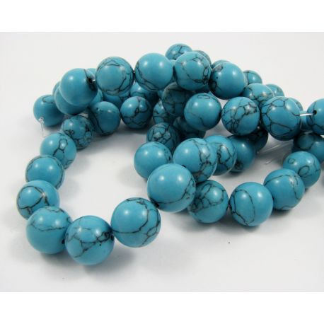 Synthetic turquoise thread, blue, round shape, size 14 mm
