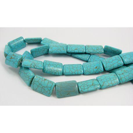 Synthetic turquoise thread, azure, rectangular, size 25x18 mm
