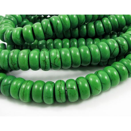 Synthetic turquoise beads, bright green, rondical shape, 10x5 mm