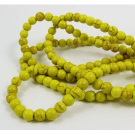 Synthetic turquoise thread, greenish-yellow, round shape, size 6 mm