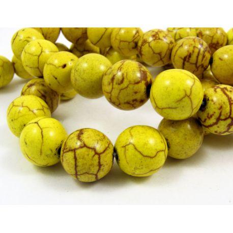 Synthetic turquoise beads, greenish-yellow, round shape, size 10 mm