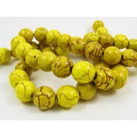 Sintetinio turkio gija, žalsvai geltonos spalvos, apvalios formos, dydis 10 mm