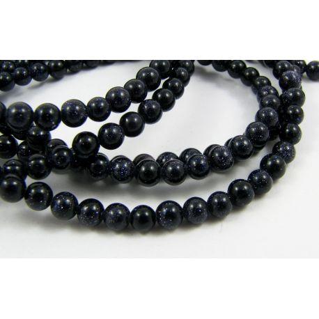 Kairas nakts pērles tumši zilas apaļas formas 4mm