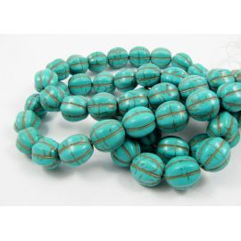 Synthetic turquoise beads strand 12x10 mm