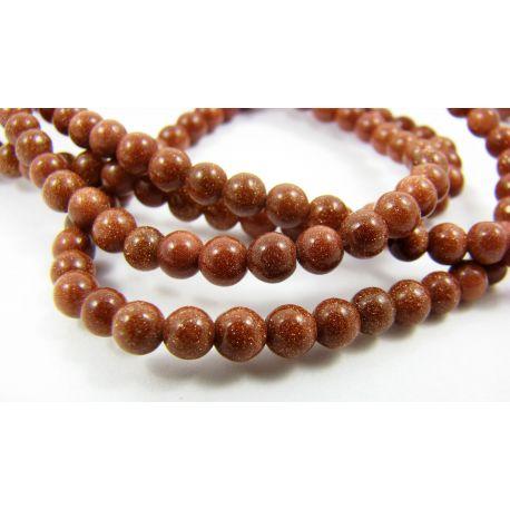 Solar stone bead thread, brown, round shape 4 mm