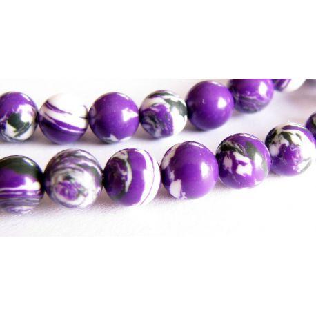 Houlito karoliukai violetinės - baltos spalvos apvalios formos 6mm
