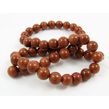 Solar stone bead thread, brown, round shape 6 mm