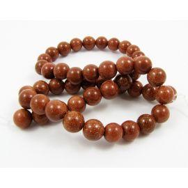 Нить для бусин солнечный камень, коричневая, круглая форма 8 мм