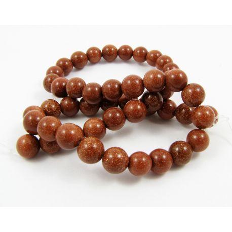 Solar stone bead thread, brown, round shape 8 mm