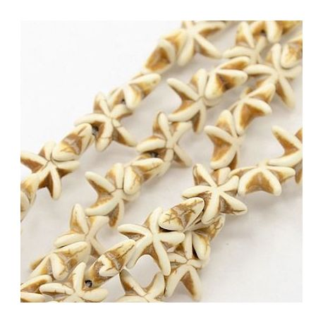 Synthetic turquoise star thread, beige, size 15x15 mm