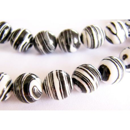 Houlito beads white black striped round shape 8mm