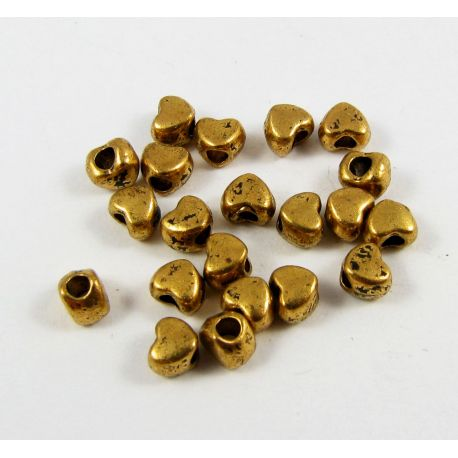 """Insert """"Heart"""" aged gold color, 4mm ~ 10 pcs"""