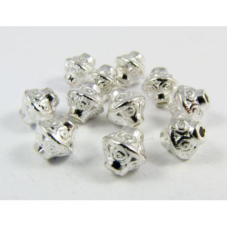 Box silver, rondeal shape, size 7.5x6.5 4mm, 10 pcs