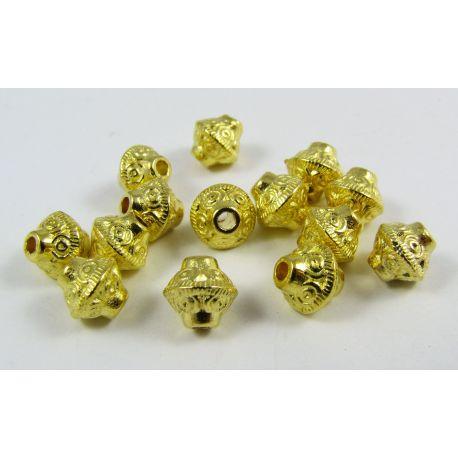 Insert gold, rondeal shape, size 7.5x6.5 4mm, 10 pcs