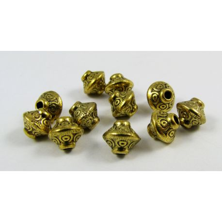 Insert aged gold, rondeal shape, size 7.5x6.5 4mm, 10 pcs