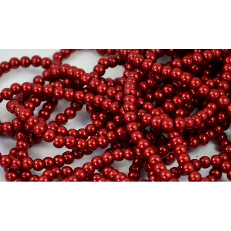 Glass pearl thread, cherry colour, size 6 mm