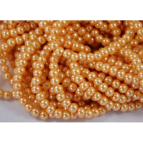 Glass pearl thread, peach colours, size 6 mm
