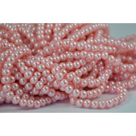 Glass pearl thread, pink, size 6 mm