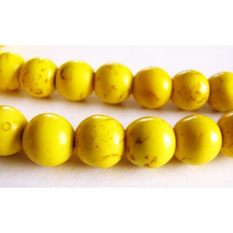 Houlito karoliukai geltonos spalvos apvalios formos 8mm