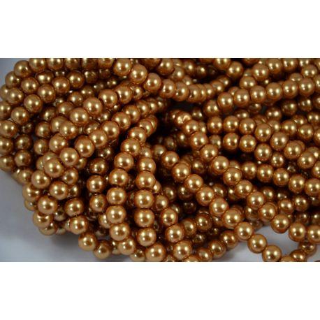 Glass pearl thread, dark gold, size 8 mm