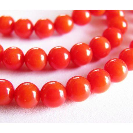 Koralo karoliukai raudonos oranžinės spalvos apvalios formos 4mm