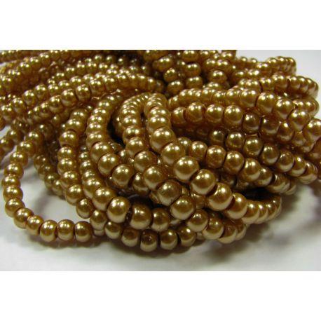 Stiklinių perliukų gija, tamsios aukso spalvos, dydis 4 mm