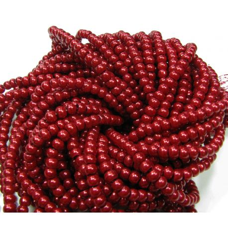 Glass pearl thread, dark cherry colours, size 4 mm