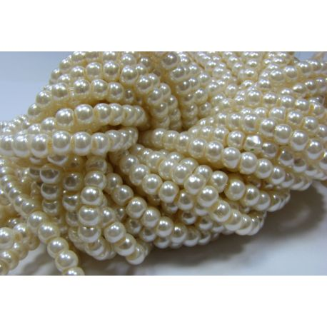 Glass pearl thread, warm white, size 4 mm