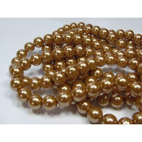 Glass pearl thread, dark gold, size 10 mm