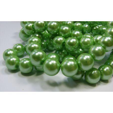 Glass pearl thread, light green, size 10 mm