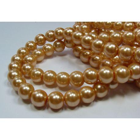 Glass pearl thread, peach colours, size 10 mm