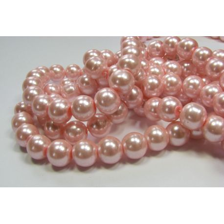 Glass pearl thread, light pink, size 10 mm