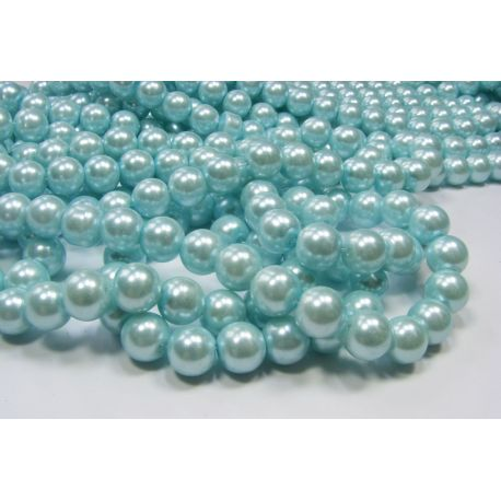Glass pearl thread, azure, size 10 mm