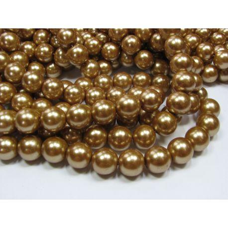 Glass pearl thread, dark gold, size 12 mm
