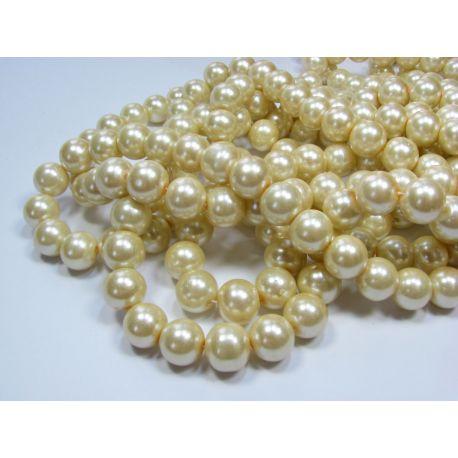 Glass pearl thread, warm white, size 12 mm