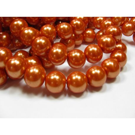 Glass pearl thread, orange, size 12 mm