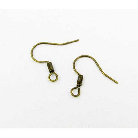 Earrings hooks, aged bronze, size appaloever of 15 mm 5 pairs