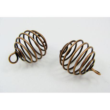 Bead pendant, aged copper, 20x19 mm, 4 units.