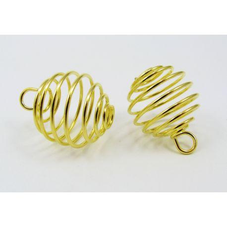 Bead pendant, gold color, 20x19 mm, 4 units.