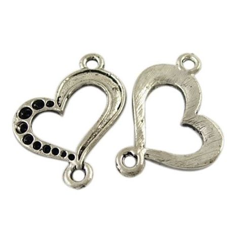 """Distributor """"Heart"""", aged silver color 21x19 mm"""